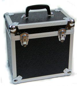 "Aluminium 12"" LP Case Black Square Design - 50 Capacity"